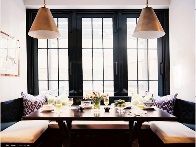 black and copper dining nook